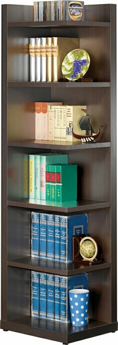 CSt800270 Espresso finish wood corner bookcase shelf unit with 6 shelves