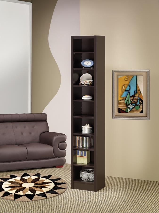 800285 Wildon home multi level espresso finish wood cubicle style bookshelf