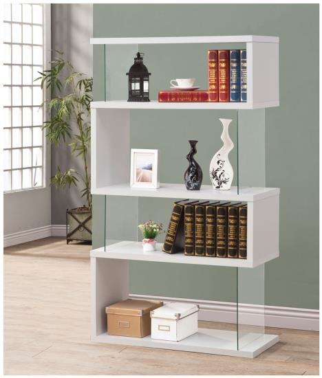 CST800300 White finish wood and glass 4 tier bookshelf with alternating glass and wood ends