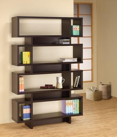 800307 Stacked Rectangles modern design room divider espresso finish wood modern styling slim line bookcase shelf unit