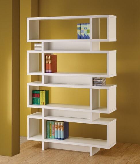 800308 Stacked Rectangles modern design room divider white finish wood modern styling slim line bookcase shelf unit