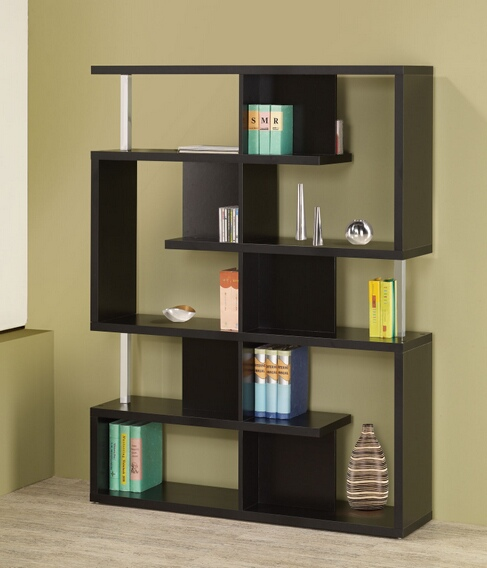 800309 Alternating shelves design room divider black finish wood modern styling slim line bookcase shelf unit