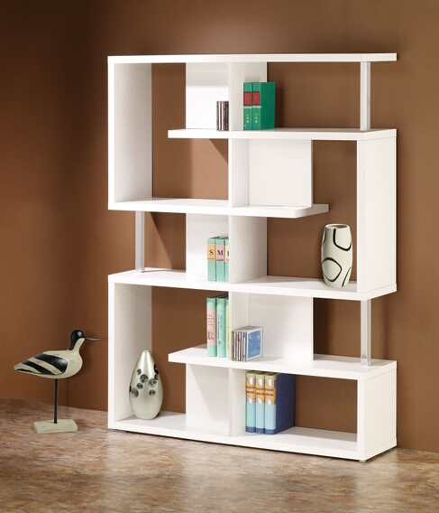 800310 Alternating shelves design room divider white finish wood modern styling slim line bookcase shelf unit