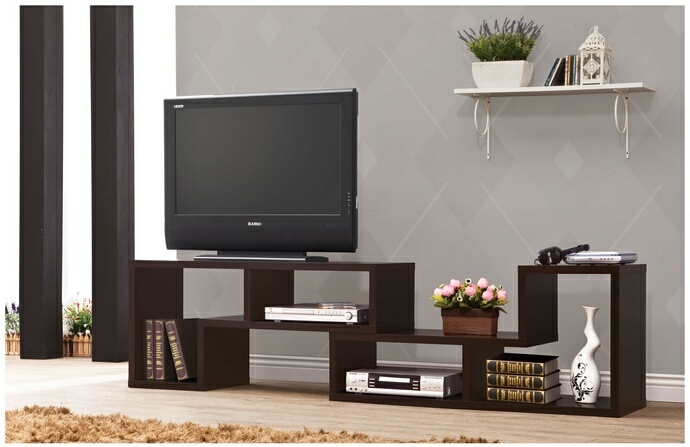 CST800329 Espresso finish wood modern contemporary style expandable TV stand / Bookcase