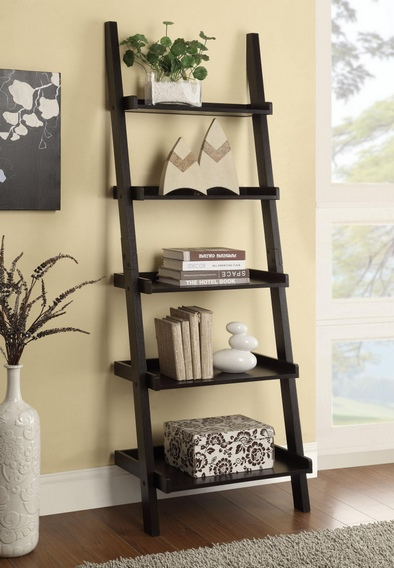 CST800338 Espresso finish wood 5 tier leaning bookshelf with back and side guards