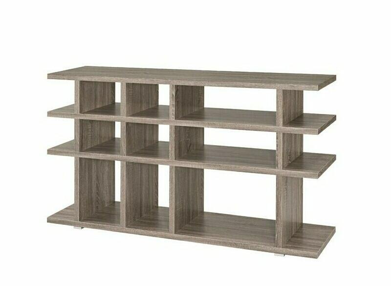 800359 Orren ellis dalenna 4 tier weathered grey finish wood cubicle style bookshelf