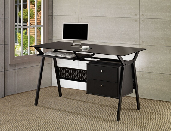 CST800436 Black powder coated finish metal frame and glass top computer desk with slide out keyboard tray and storage drawers