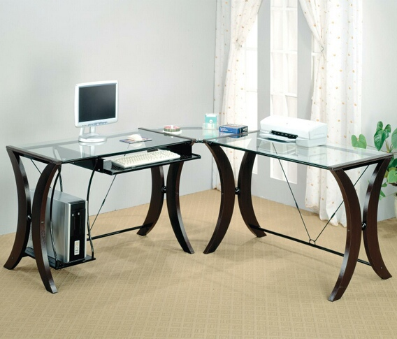 800446 L shaped corner student computer desk with glass top and espresso finish frame