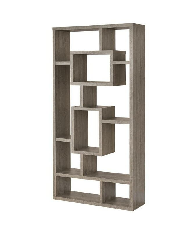 CST800512 Weathered grey finish wood bookshelf with multi size compartments