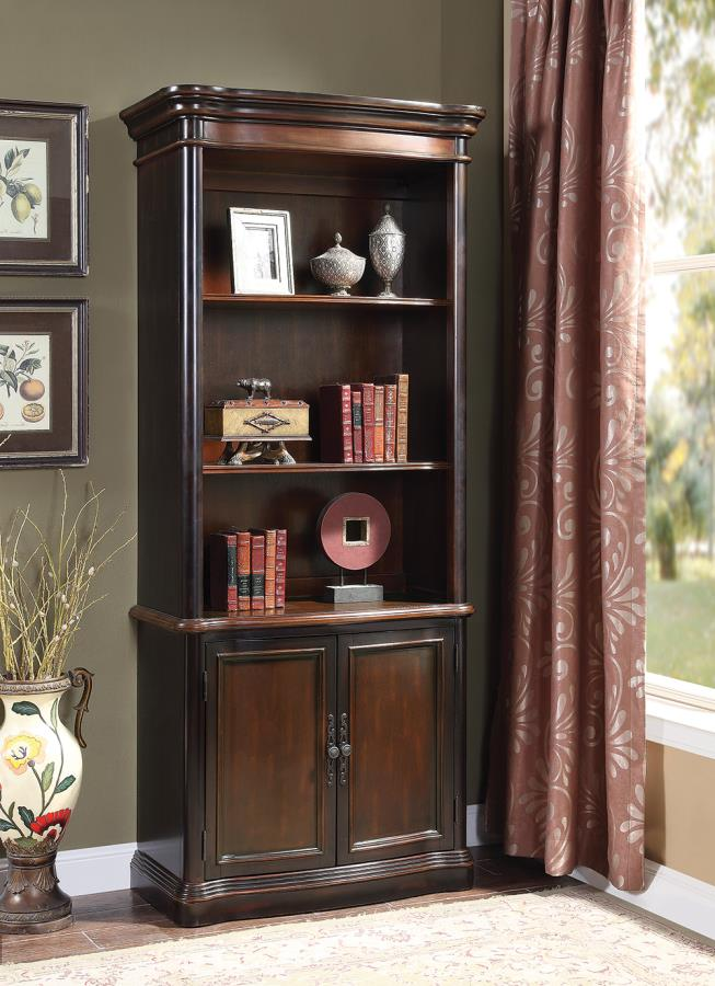 800513 Magnussen broughton hall tucker espresso chestnut finish wood office bookcase