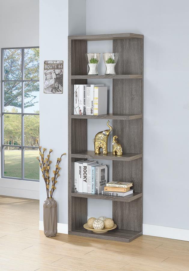 800553 Wrought studio tillett 5 tier off set look shelves weathered grey finish wood bookcase shelf unit