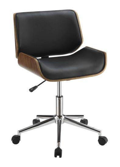 800612 Wrought studio gephart black faux leather and chrome with bent wood accents office chair with casters