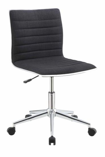 CST800725 Brenda collection ribbed seat and back black fabric office chair with casters