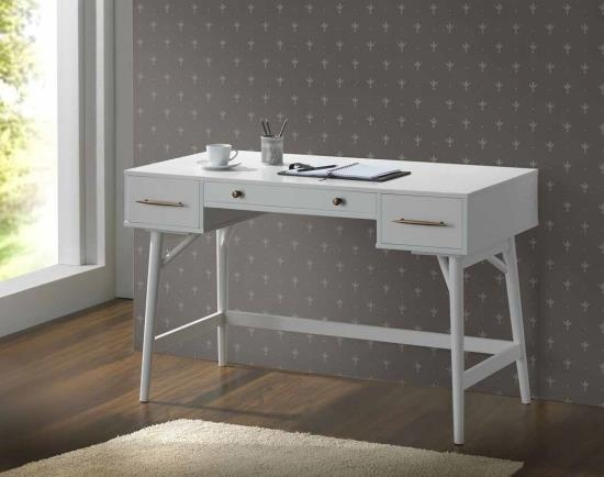 CST800745 White finish wood 3 drawer writing student desk with round legs