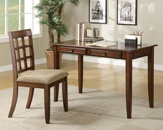 CST800778 2 pc chestnut finish wood desk and chair with drawers