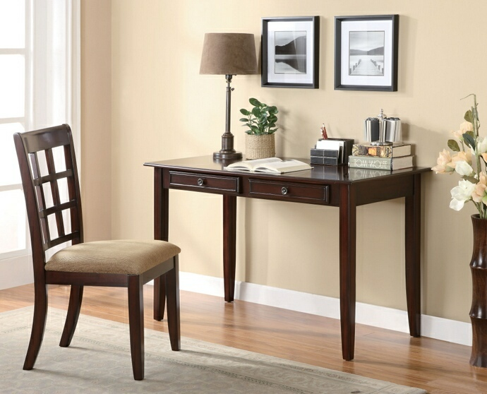 800780 2 pc Darby home co potsdam dark amber finish wood desk and chair with drawers
