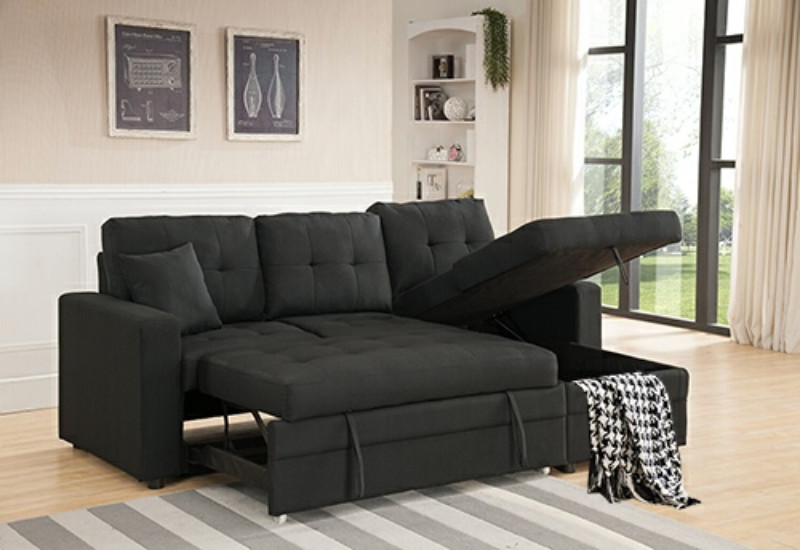 MGS 8008-BK 2 pc Everly black linen like fabric sectional sofa set pull out sleep area