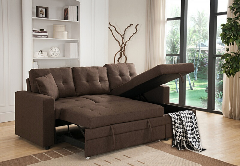MGS 8008-BR 2 pc Everly brown linen like fabric sectional sofa set pull out sleep area