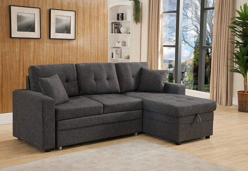 MGS 8008-GY 2 pc Everly gray linen like fabric sectional sofa set pull out sleep area