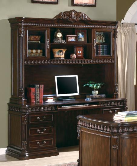 CST800801H-B Tucker collection traditional style rich brown finish wood office credenza desk and hutch