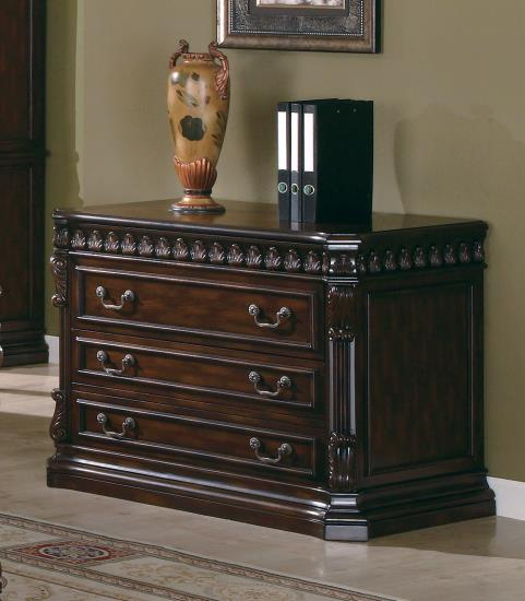 CST800802 Tucker collection traditional style rich brown finish wood office filing cabinet