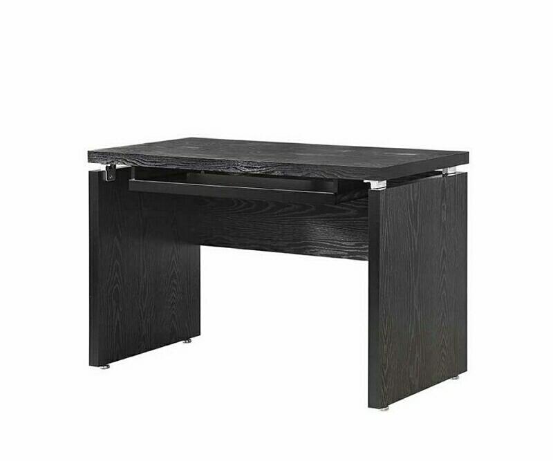 800821 Latitude run reatha black finish wood office computer desk with keyboard drawer