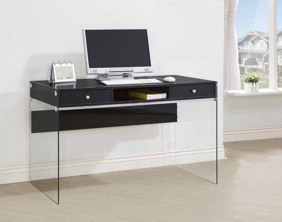 800830 Wade logan grace dobrev black finish wood and tempered glass legs writing desk