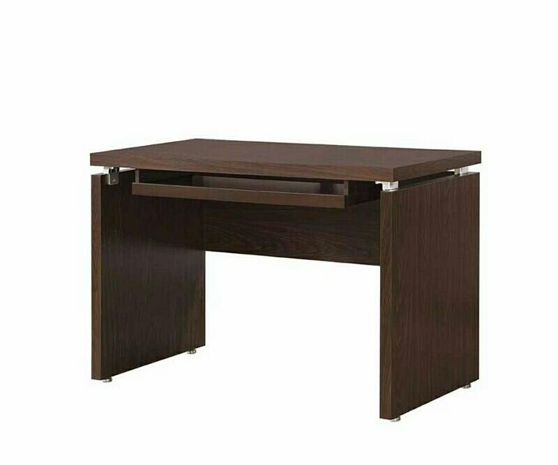 800831 Latitude run reatha brown finish wood office computer desk with keyboard drawer
