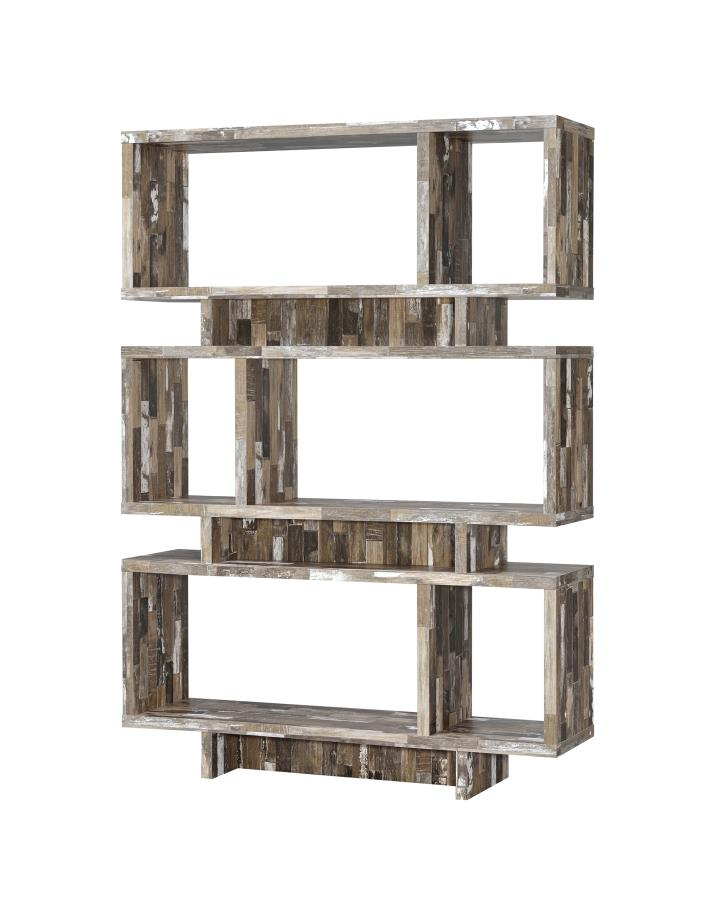 CST800846 Wilmington cabin collection salvaged cabin finish wood multi level book case