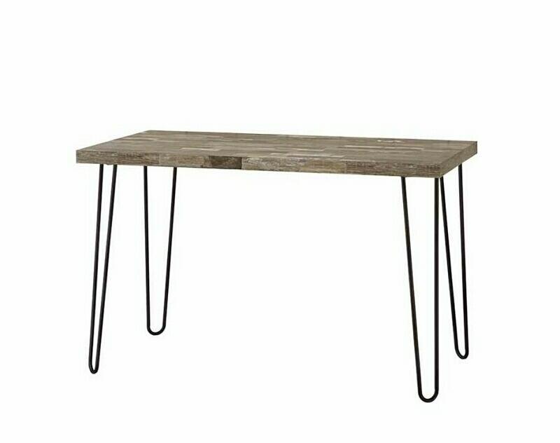 800927 Union rustic plainville antique nutmeg finish wood dark bronze finish metal legs office writing desk