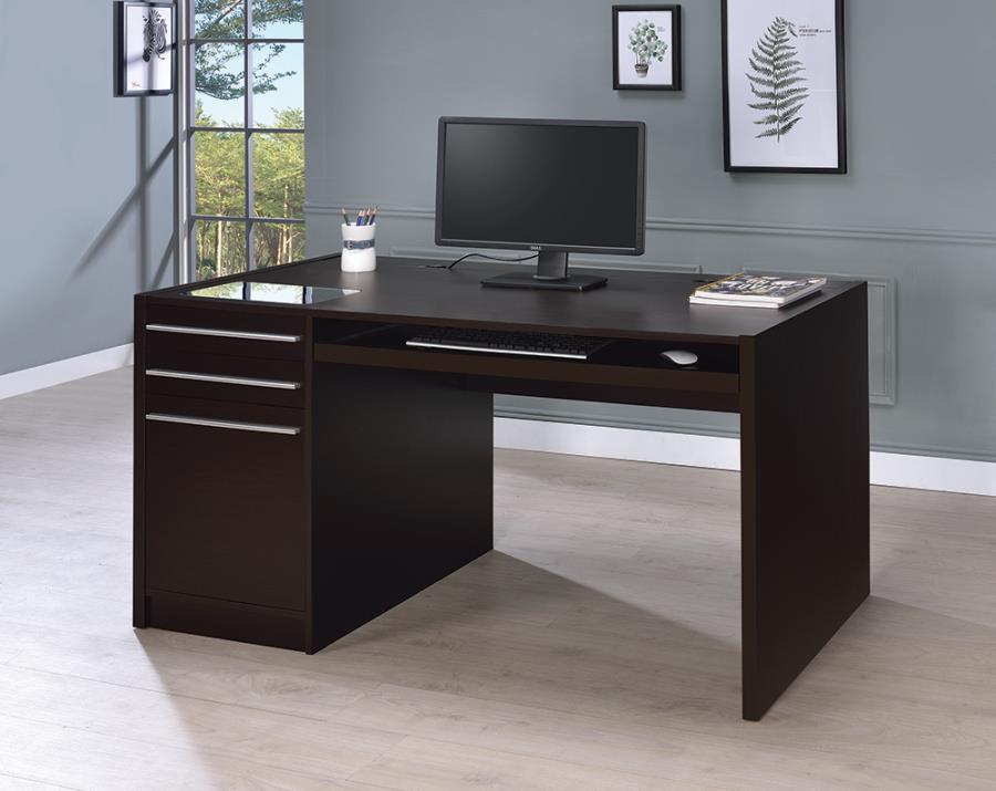 800982 Orren ellis harling halston espresso finish wood office desk with drawer unit