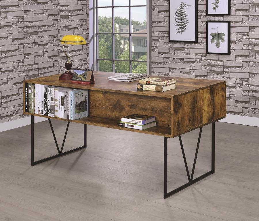 800999 17 stories rosina analiese antique nutmeg finish wood and black metal frame writing desk