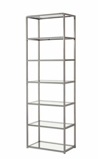 CST801017 6 Tier nickel finish metal frame and glass shelves book case