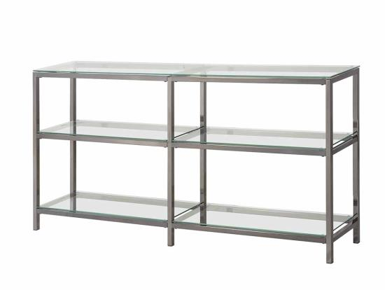CST801018 3 Tier nickel finish metal frame and glass shelves book case