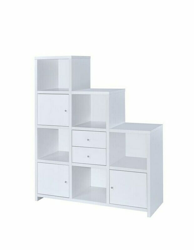 801169 AMB Home Collection 3 Level White Finish Wood Cubicle Style Bookshelf