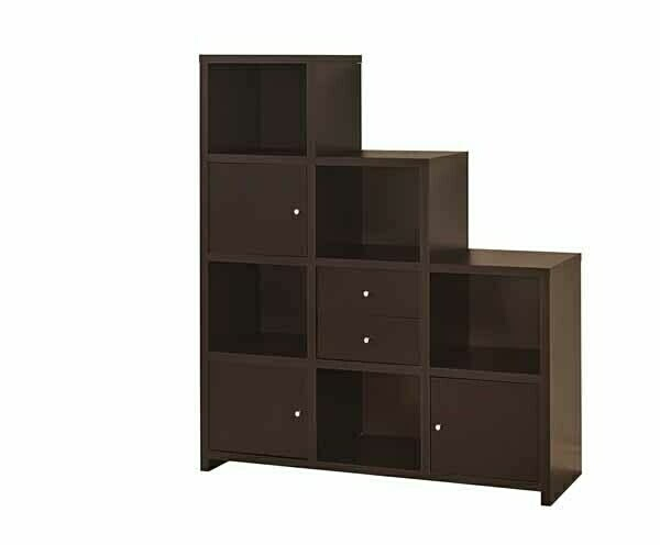 CST801170 AMB Home collection 3 level espresso finish wood cubicle style bookshelf