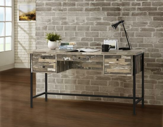 CST801235 Wilmington cabin collection salvaged cabin finish wood office desk with drawers and black metal finish frame