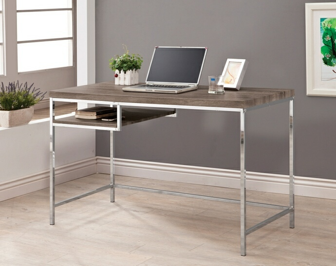 CST801271 Weathered grey finish wood and chrome finish metal legs office writing desk with shelf