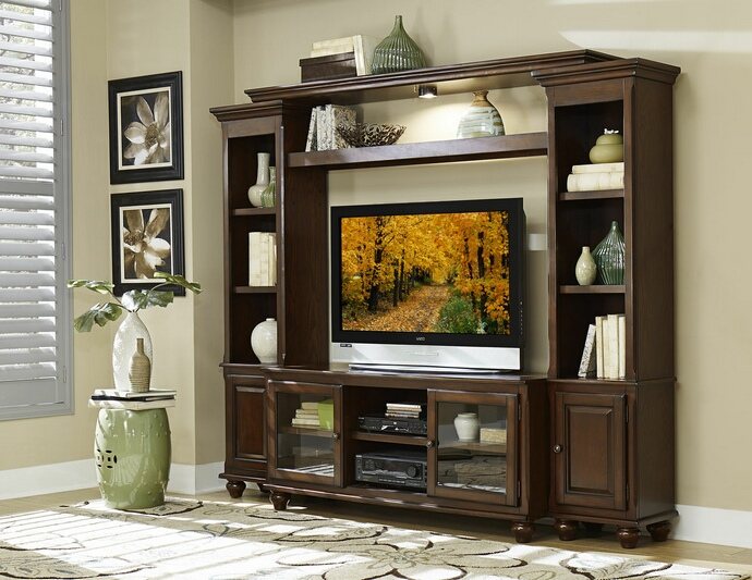 HE-8014 4 pc Lenore collection cherry finish wood TV entertainment center TV stand with side piers