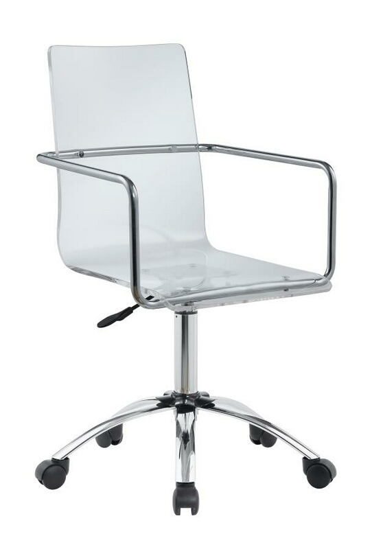 801436 Modern design clear bent acrylic seat office chair with casters