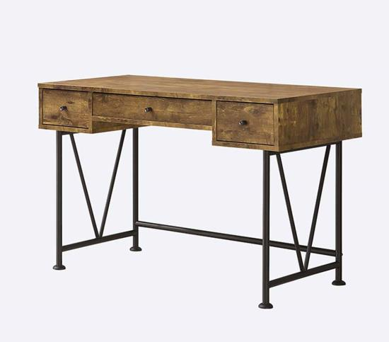 CST801541 Barritt collection antique nutmeg finish wood with black metal frame writing desk with drawers