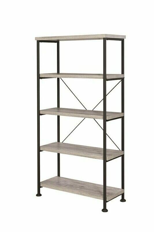 801546 Gracie oaks rubio analiese grey driftwood finish wood with black metal frame 5 tier shelf