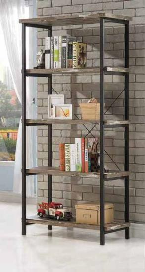 CST801552 Skelton collection salvaged cabin wood finish with black metal frame 5 tier book shelf