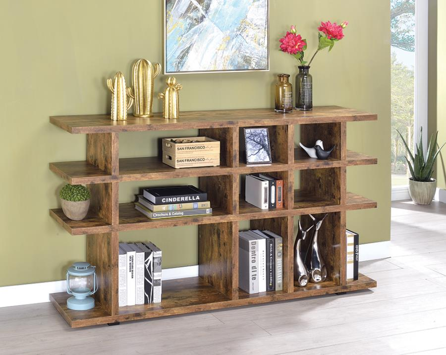 801848 Loon peak kamille cabin antique nutmeg finish wood multi level book case silver metal accents