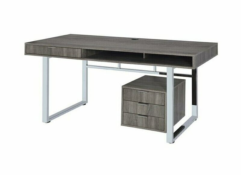 801897 Wilmington Modern Weathered Grey Finish Wood Office Desk With Drawer  Unit