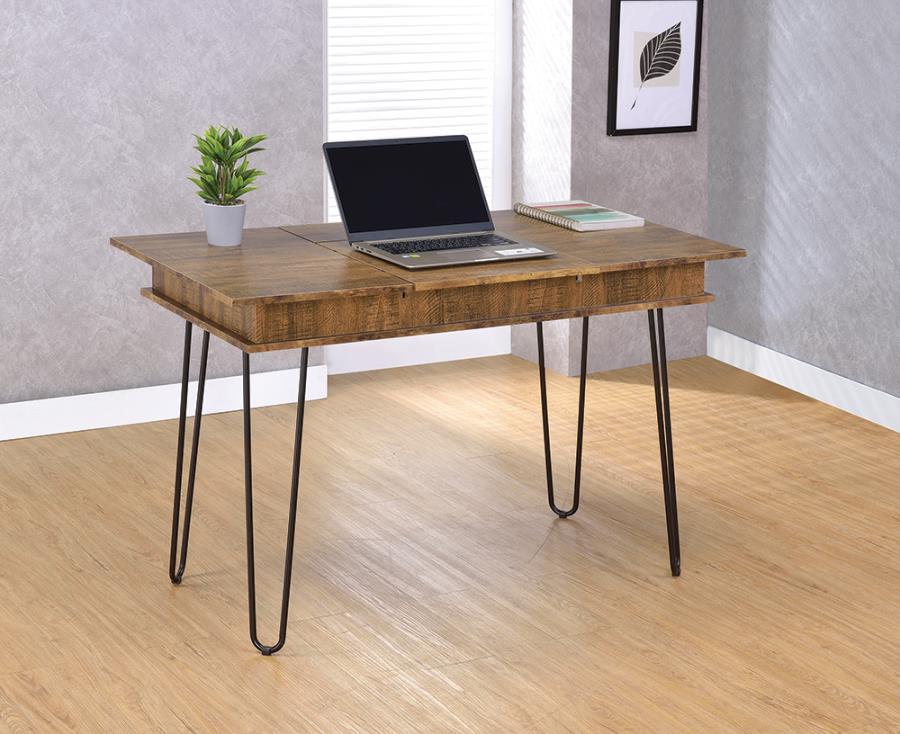 802011 Williston forge carpenter sheeran rustic amber finish wood black metal legs office writing desk