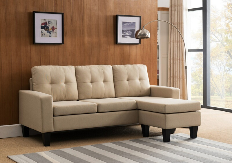 MGS 8023-BG 2 pc leta II beige linen like fabric sectional sofa reversible ottoman chaise