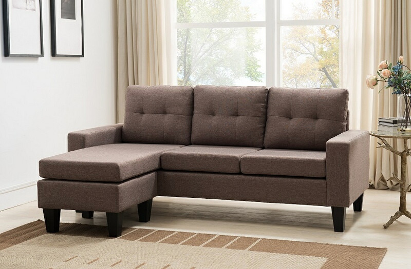 MGS 8023-DB 2 pc leta II dark brown linen like fabric sectional sofa reversible ottoman chaise