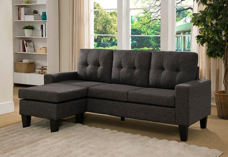 8023-CHA 2 pc Mercury Row Briley II black charcoal linen like fabric sectional sofa reversible ottoman chaise