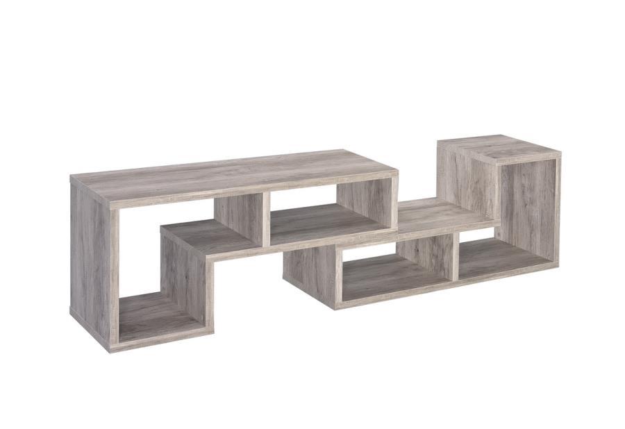 802330 Ebern designs hiliritas grey driftwood finish wood modern expandable tv stand / bookcase